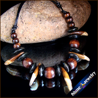 Wholesale Tibetan Tribal Jewelry Natural Wolf Teeth Wood Beads Leather Necklace Free Shipping G104