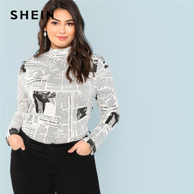 Camisetas de manga larga de cuello alto con estampado gráfico de letras talla grande SHEIN para mujer 2018 Otoño Invierno Streetwear Slim Fit Top camisetas