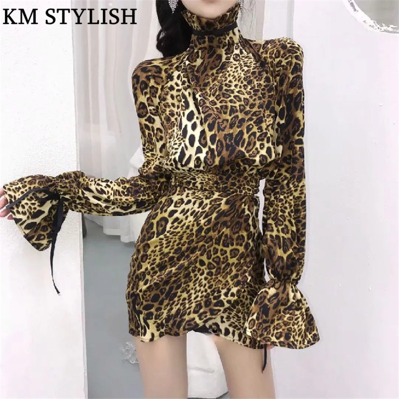 2019 Fall/Winter New Women Leopard Print Flare Sleeve Dress Temperament High Cold Stand Collar Tie Goddess One-piece Dress