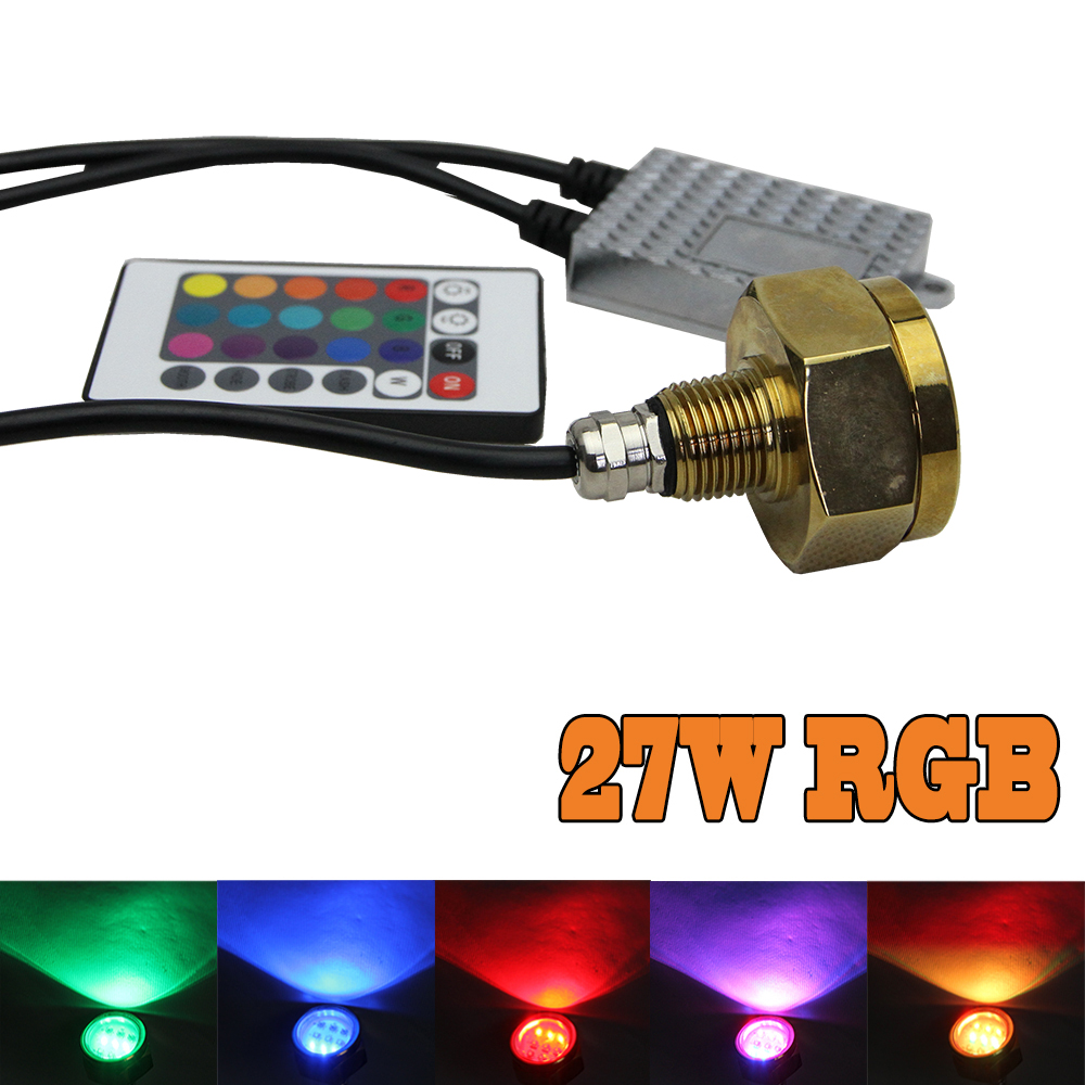 1x Marine RGB color change Cree chip LED Boat Drain Plug Underwater Light 3*9W 27W for Garber-fishing Swimming Diving 1/2