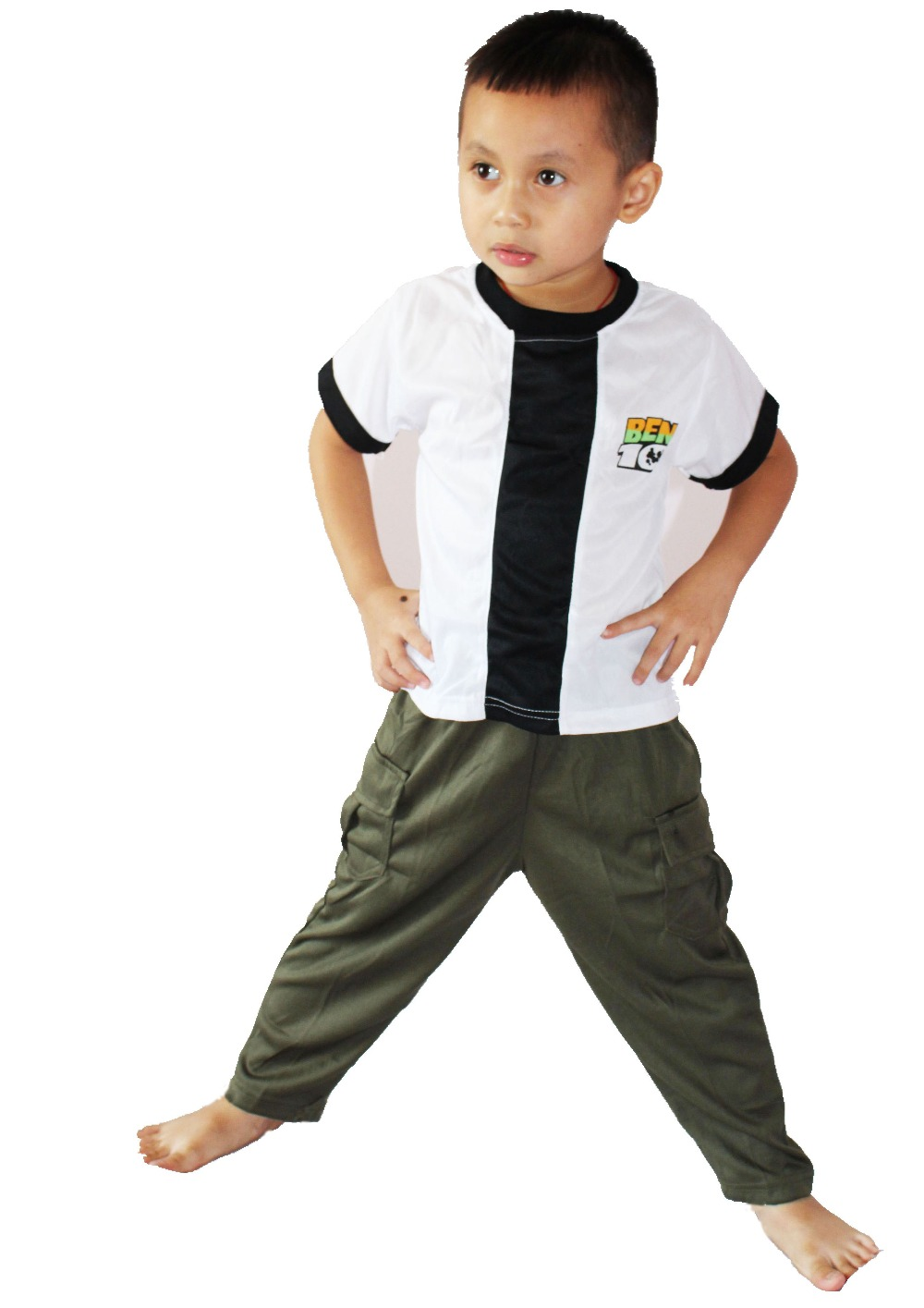 Kid Cosplay Halloween Party Ben 10: Race Against Time Clothing,Boy BEN-10 Role-playing Clothing,Short Sleeve T-shirt  Size:S-XXL