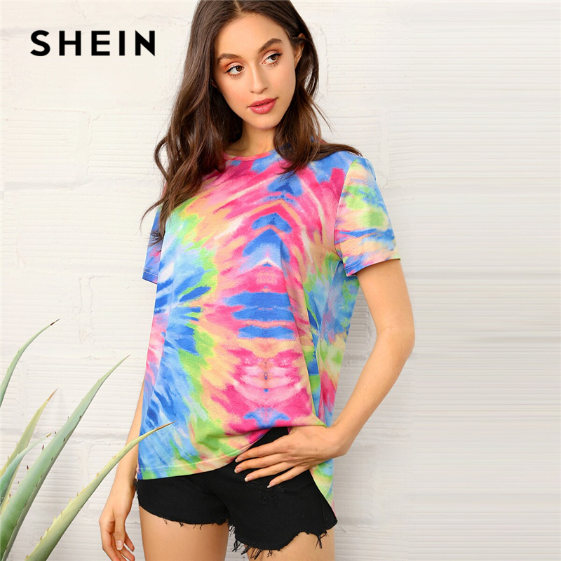 SHEIN Tie Dye Short Sleeve Top Casual Women Short Sleeve   T     Shirt   Comfortable Stylish Colorblock Summer Round Neck Tops