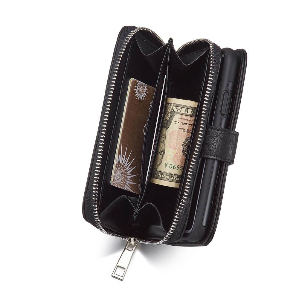 Luxury Multi Function Double Folded Women Men Zipper Leather Wallet Flip Case Handbag Purse Case For