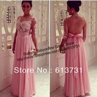 Sweetheart Sheer Lace Top Pink Crystal Beaded A-Line Floor-Length Chiffon Long Sleeves Prom Dress Evening Dresses 2014