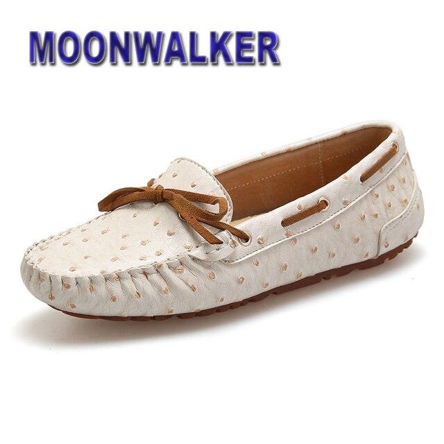 0d2113c0fd Spring Autumn Women Ostrich Leather Bowtie Loafers Comfort Moccasins Women  Slip On Driving Shoes 3 Colors US 6 - 9.5