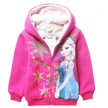 2016 Cartoon 4-10 yrs kids girls winter coat olaf&anna&elsa clothing winter jacket kids zipper hoodies warm winter coat for girl