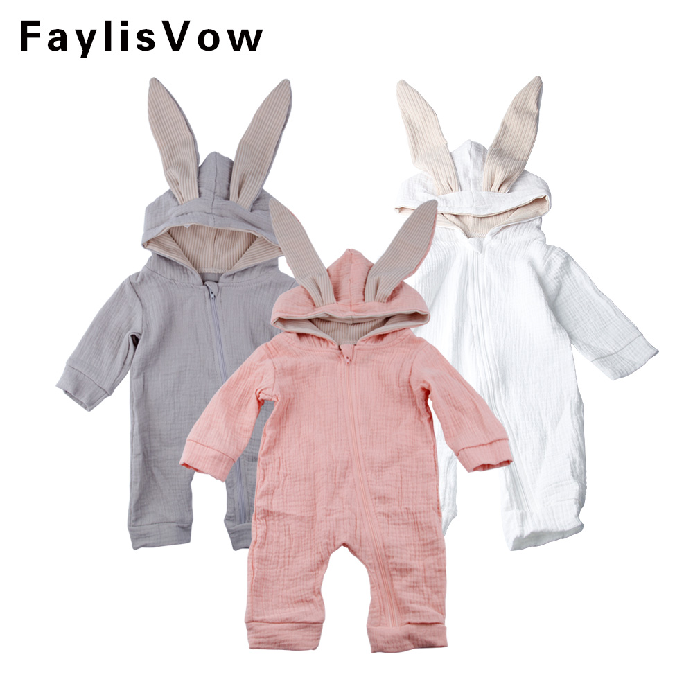 1a563feb808f9 Cute Rabbit Ear Hooded Baby Romper Long Sleeve Infant Jumpsuit Baby Bunny  Costume Spring Autumn Newborn Clothing Infant Outfits-in Rompers from  Mother ...