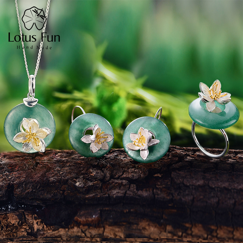 купить Lotus Fun Real 925 Sterling Silver Handmade Fine Jewelry Lotus Whispers Jewelry Set With Ring Pendant Necklace Drop Earring по цене 4205.65 рублей