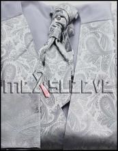 hot sale waistcoat for party wear silver paisley vest(vest+ascot tie+cufflinks+handkerchief)