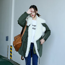 Artificial wool large lapel cotton-padded jacket Army Green fashion wadded jacket medium-long loose berber fleece fur coat