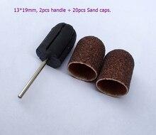 Check Discount 13*19 mm,20PCS nail Sanding Bands cap Manicure File Tools + 2PCS Nail Salon Rubber Grips handle Drill Nail Drill Machine