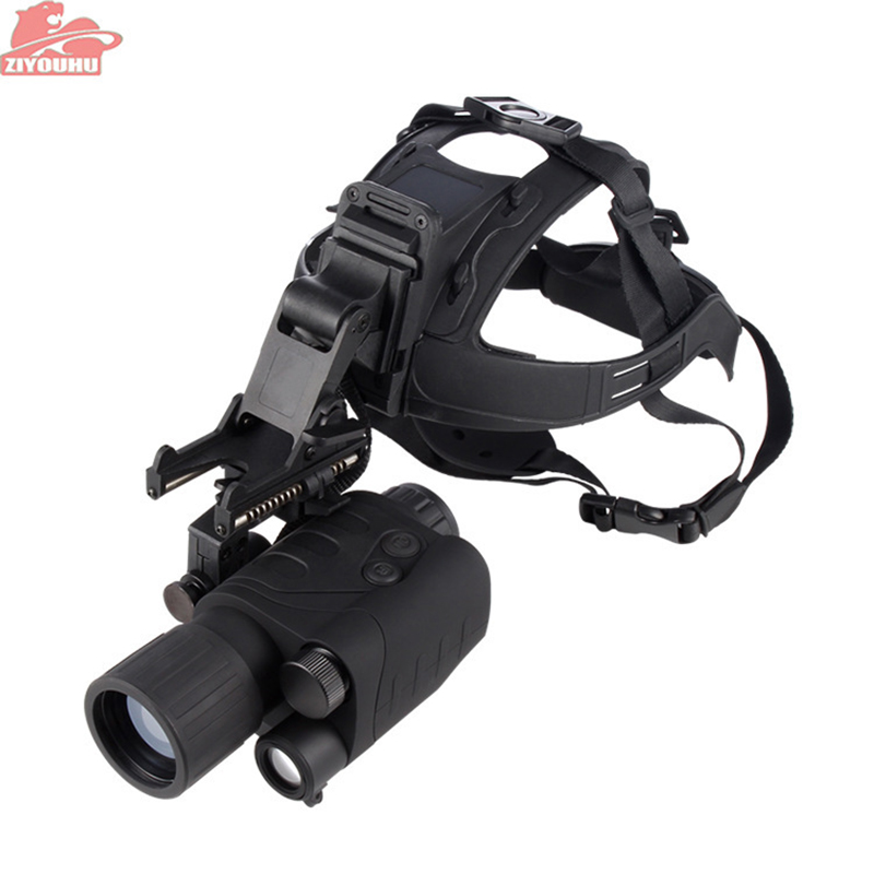 ZIYOUHU Night Vision Hunting Monocular 1x24 Head Mount Kit Night Vision Monocular Compact Multi-Task Hunting Scope Built-in IR