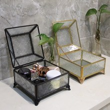 Retro Fancy Glass Box Cosmetic Storage Lace Copper Dust-Proof Clamshell  Desktop Gold And Silver Jewelry Wedding Gift