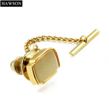 Golden Tie Tack with Chain Clutch for Mens Shirt Elegant Matte Locking Tie Tack Pin Backs Free Shipping