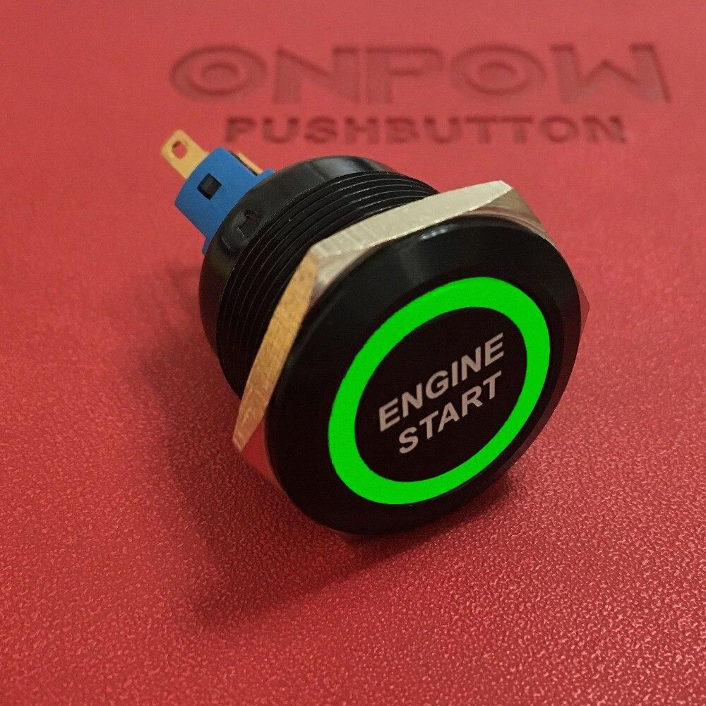 Onpow 22mm 1no1nc schwarz momentanen ring leuchtdrucktaster schalter ...