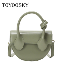 TOYOOSKY Fashion Semicircle Saddle Crossbody Bags For Women Retro PU Leather Ladies Shoulder Girls Small Messenger