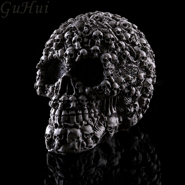 US $15 6 20% OFF|Evil Resin Skull Head Halloween Party Props Interior Resin  Skull Model Escape Room Haunted House Decorations Monster Theme Party-in