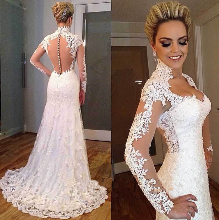All white sheer lace long sleeve mermaid 2018 sexy bridal gown vestido de noiva sereia casamento mother of the bride dresses