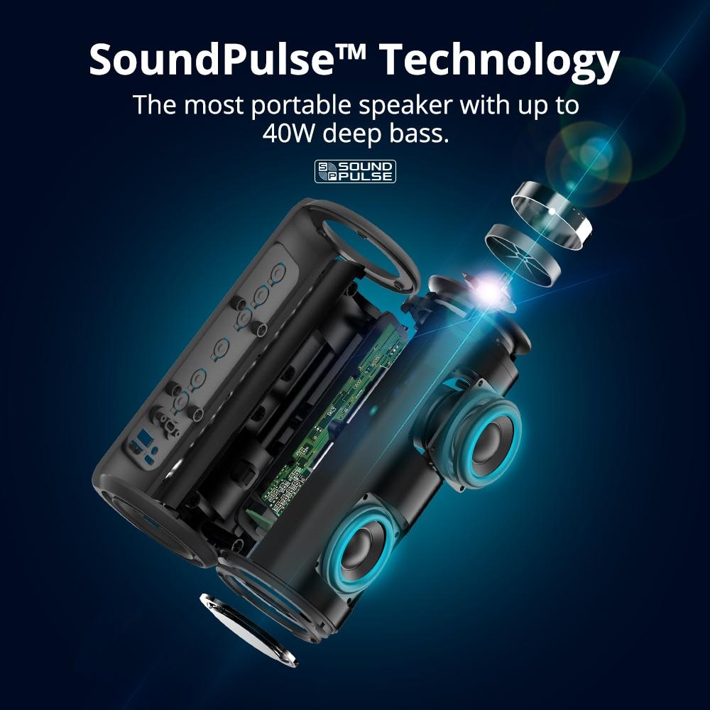 Tronsmart T6 Plus Bluetooth Speaker 40W Portable Speaker Deep Bass Soundbar with IPX6 Waterproof, Power Bank Function SoundPulse 2
