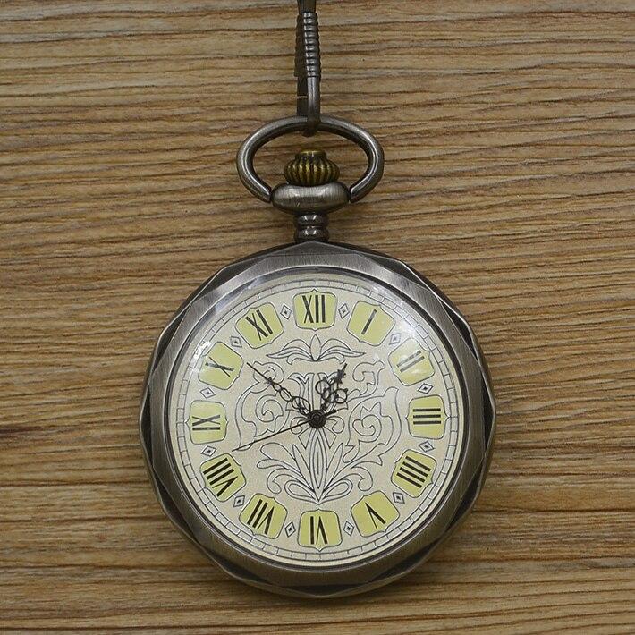 81f61841800 Atacado moda homens vento mão Mecânica Pocket Watch número roman vintage  retro clássico Elegante preto fob relógios pai pai