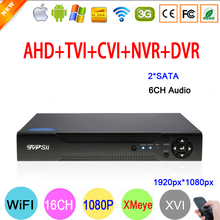 XMeye Hi3531A 1080P 2MP 16 Channel 16CH 2 SATA 6CH Audio in