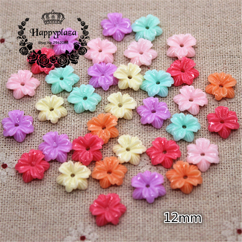 50pcs 12mm Mix Colors Resin Flower Flatback Cabochon DIY Jewelry Phone Craft Decoration