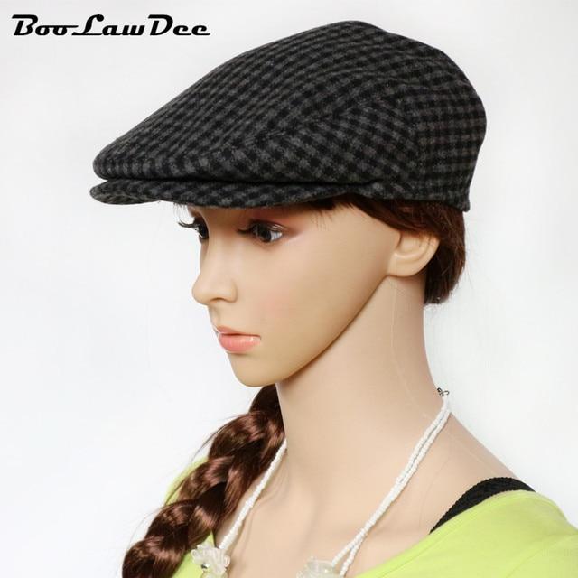 BooLawDee New Design Grid Advance Visor Hats Painter Woolen Cap Male 4  Season For Old Men leisure adults Comfortable M717 b7445e09e8a6