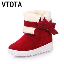 VTOTA Women Winter Shoes Flat Warm Ankle Boots Butterfly-knot Snow Boots Casual Warm Snow Boots Shoes botas mujer Shoes Woman D4