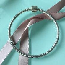 купить 100% 925 Sterling Silver Bracelets European Original Snake Chain Bracelet for Beads Charms 16-21CM Diy Bracelet for дешево