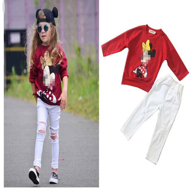 342be6716ebf4 US $14.34  Tracksuit Girls Sports Suits Fashion Baby Girl Clothing Sets  2018 Spring Autumn Cartoon Outfit Clothes Red T shirt + Hole Pants-in  Clothing ...