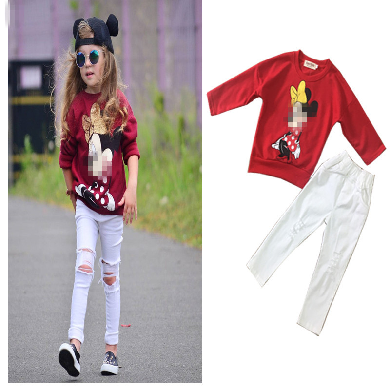 Tracksuit Girls Sports Suits Fashion Baby Girl Clothing Sets 2018 Spring Autumn Cartoon Outfit Clothes Red T-shirt + Hole Pants