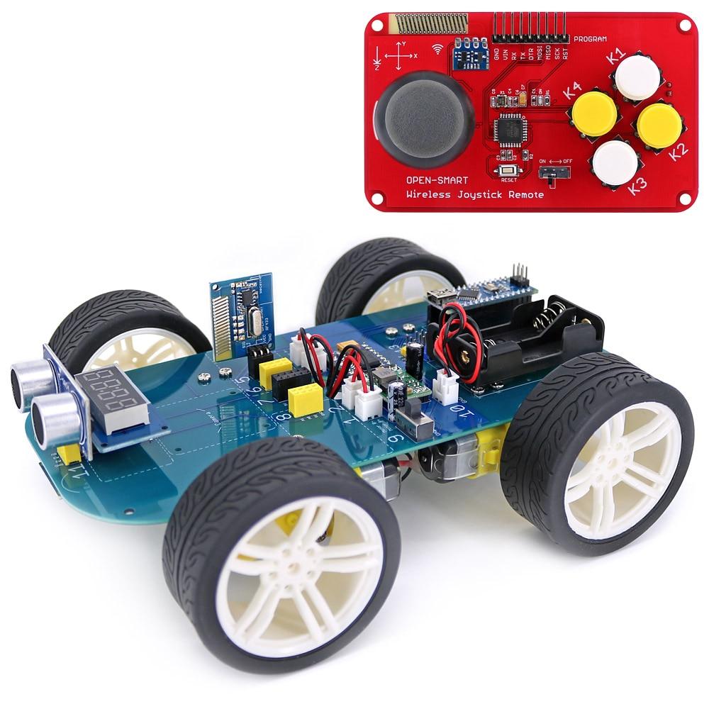 Easy-plug 4WD RF LORA 433MHz Wireless JoyStick Remote Control Rubber Wheel Gear Motor Smart Car Kit For Arduino UNO R3 / Nano