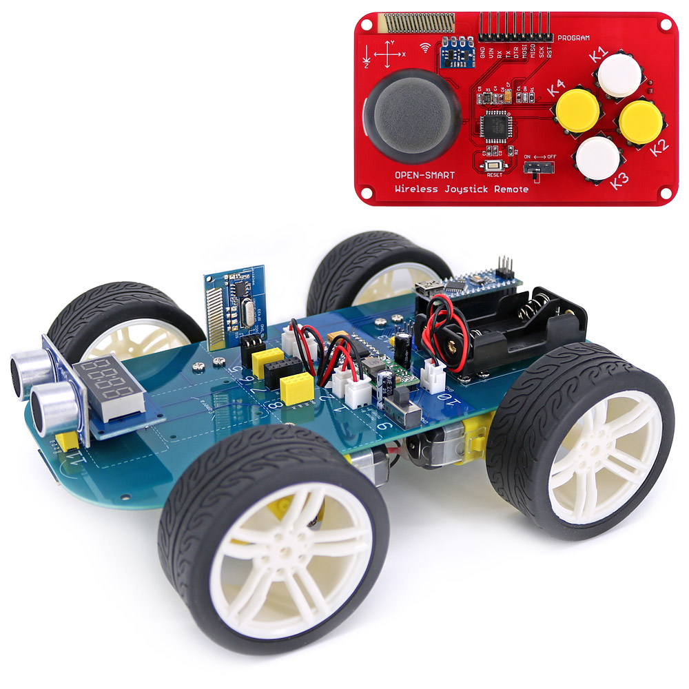Easy-plug 4WD RF LORA 433MHz Wireless JoyStick Remote Control Rubber Wheel Gear Motor Smart Car Kit For Arduino UNO R3 / Nano
