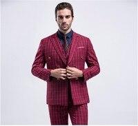2017 Thiết Kế Cổ Điển Rượu Vang Sọc Lưới Groom Tuxedo Hiện Đại Phù Hợp 3 Cái Suit Set Wedding Suits (Áo + Quần + Vest) Besspoke Phù Hợp Với