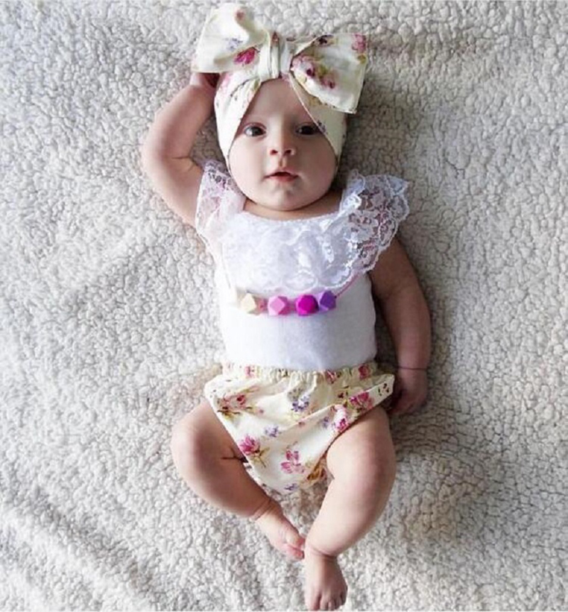 Baby Girls Clothes Sleeveless Floral Lace Neck Top+Floral Print Bow Headband 3 pcs Baby Girls Clothing Set Summer Toddler Suit