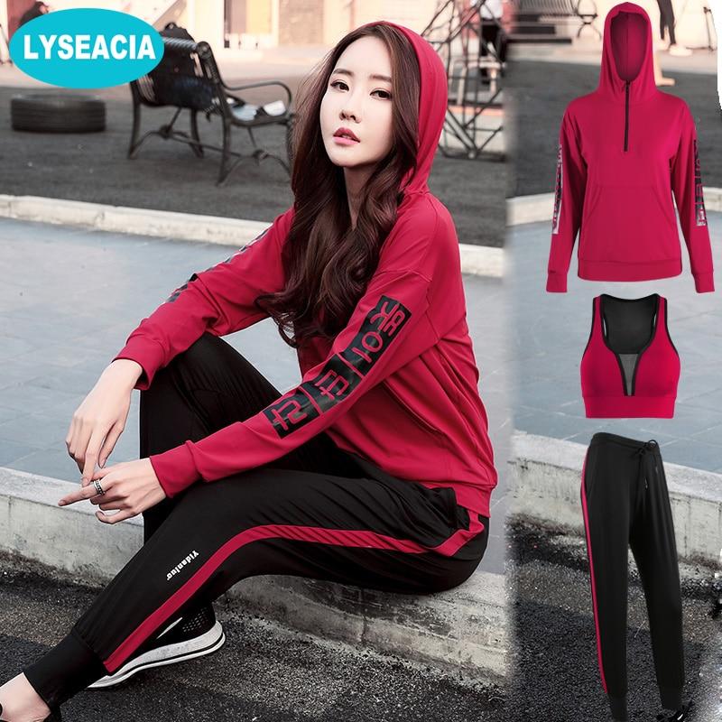 LYSEACIA M-4XL Fitness costume de sport 3 IN1 Yoga Ensemble Pour Courir Gym Sans Soudure brassière de sport Long sweat à capuche et manches longues Lâche pantalons de sport