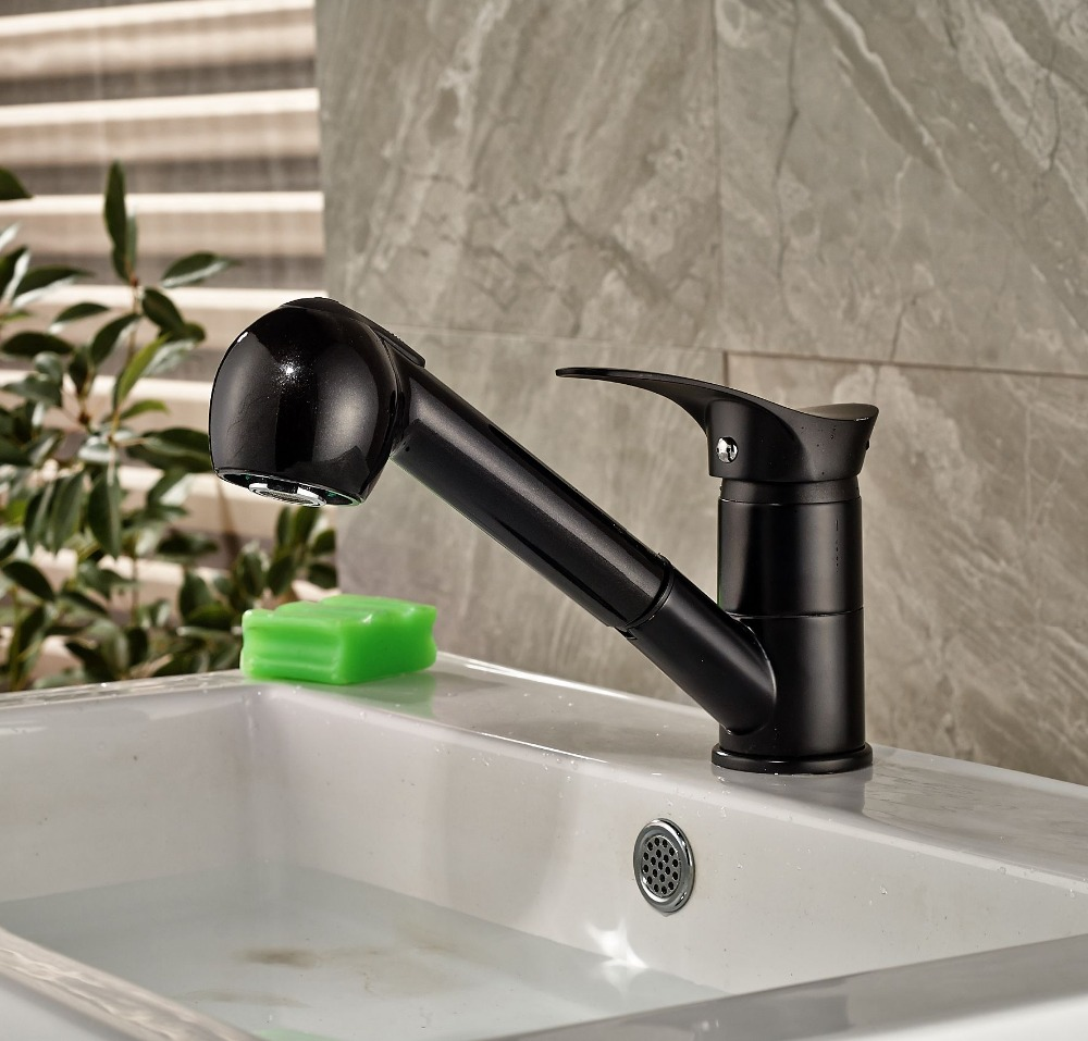 Deck Mounted Oil Rubbed Bronze Basin Tap Bathroom Pull Out Spout Mixer Tap allen roth brinkley handsome oil rubbed bronze metal toothbrush holder
