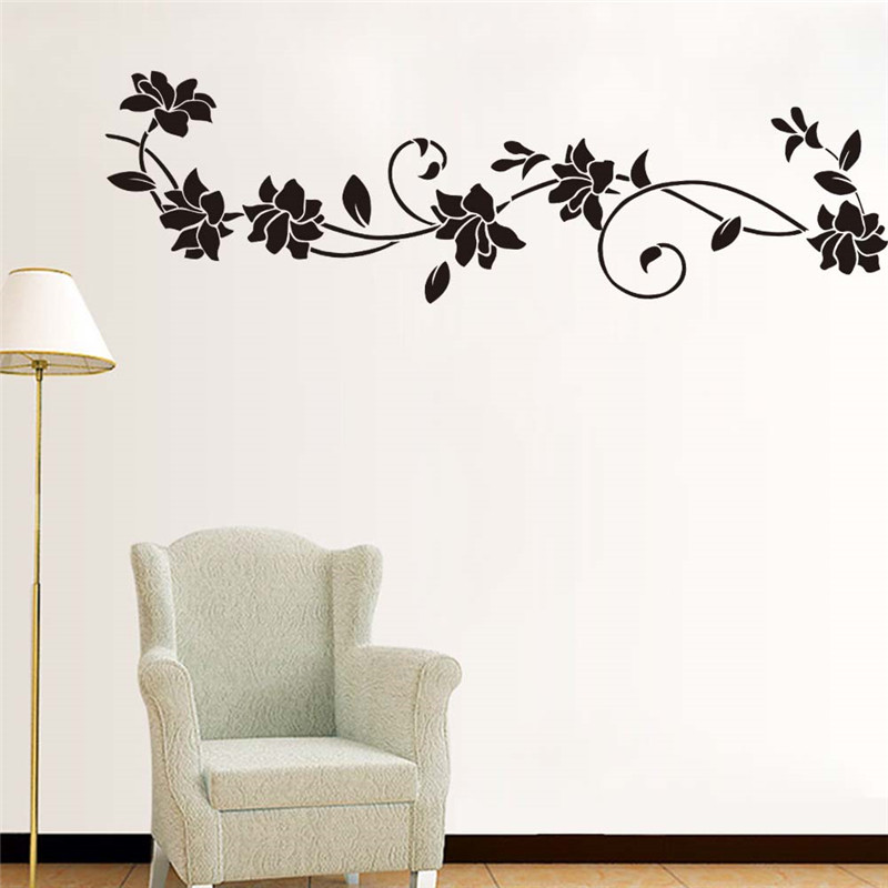 Black flower vine wall stickers refrigerator window for Black wall mural