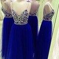 Cristal Frisado Top V Pescoço Longos Vestidos de Baile de strass 2017 Cintas de Espaguete azul royal red Vestido De Baile Imagem Real Tulle