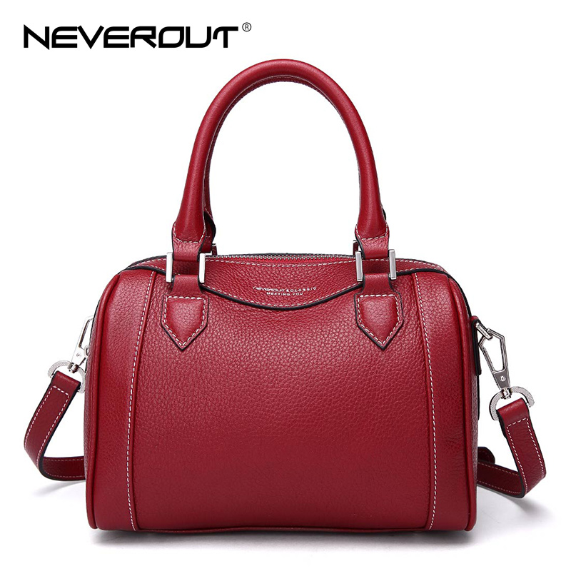 NeverOut Genuine Leather Handbags Ladies Small Boston Handbag Solid Simple Style Shoulder Bags Sac Zipper Cross-body Bags Tote neverout oil wax style split leather bag for women vintage boston bag shoulder sac 3 color handbags tote zipper tote new handbag