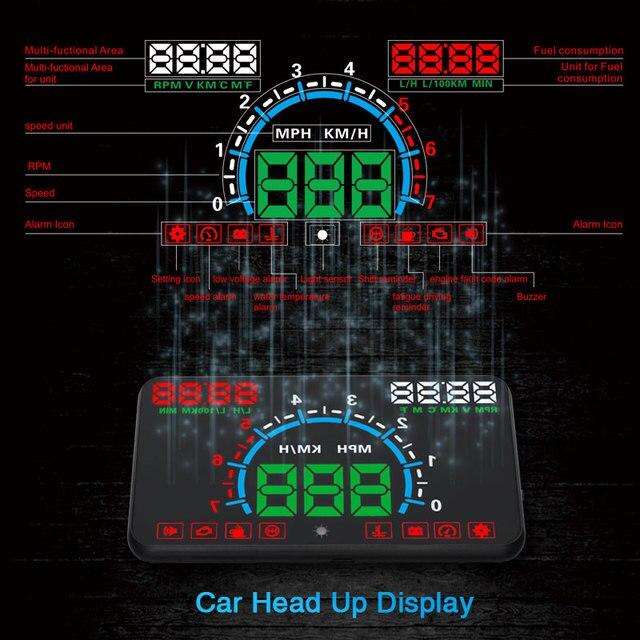 """באיכות גבוהה 5.8 """"Hud OBD2 ראש למעלה תצוגה רכב מהירות מקרן רכב שמשה קדמית ספידו ניווט מד מהירות צ דוויק E350"""