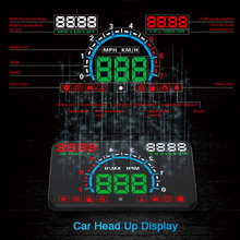 """高品質 5.8 """"hud OBD2 ヘッドアップディスプレイ車速度プロジェクター車両フロントガラススピードメーターナビゲーションスピードメーター謎 E350"""