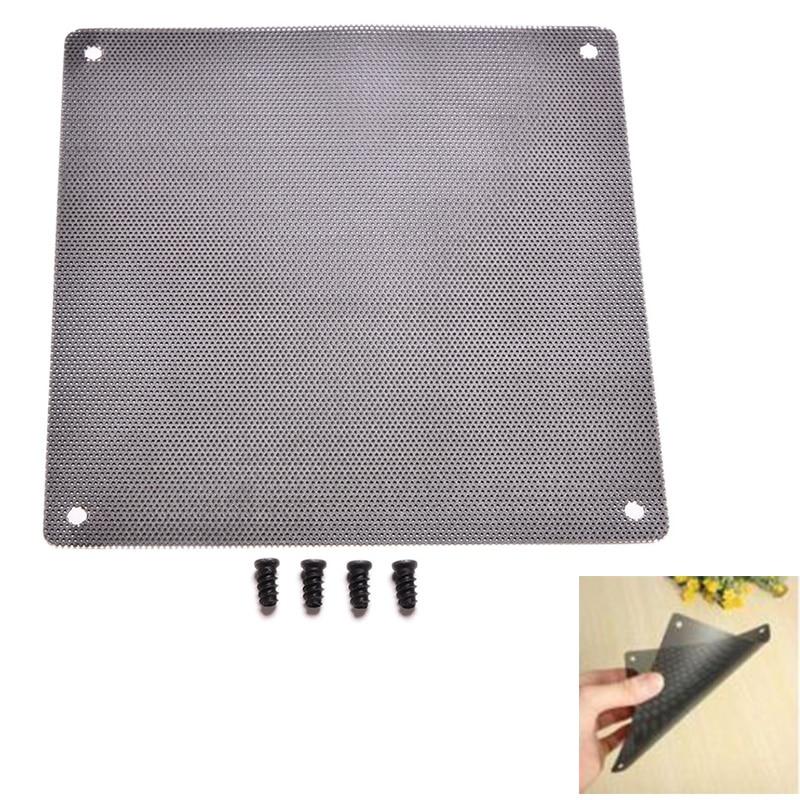 14cm X 14cm Cuttable Computer Cooling Fan Filter 140mm PC Fan Case Dust Filter Strainer Dustproof Mesh With 4pcs Screw