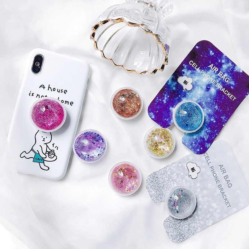 Quicksand Glitter Liquid Expanding Phones Holder Grip Stand For iPhone X XS MAX XR 8 7 6 6s Plus 3D Universal Cell Phone Bracket