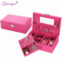 Guanya New women Elegant high quality double layer Velvet jewelry box jewelry display case girl lady gift 206 A8