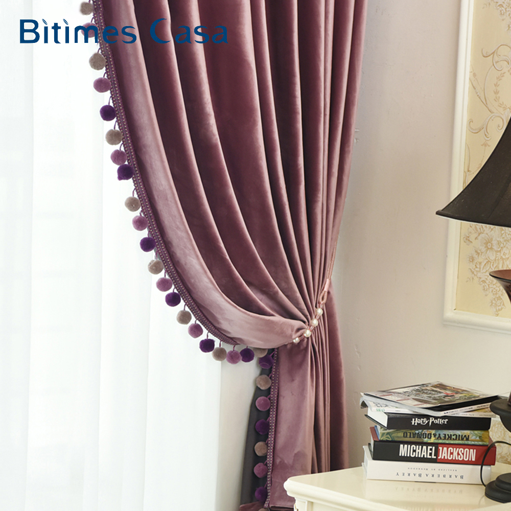 Thermal Insulation Velvet Blackout Window Curtain With Pompon For Living Room Bedroom Interior Decoration High Shading Drape