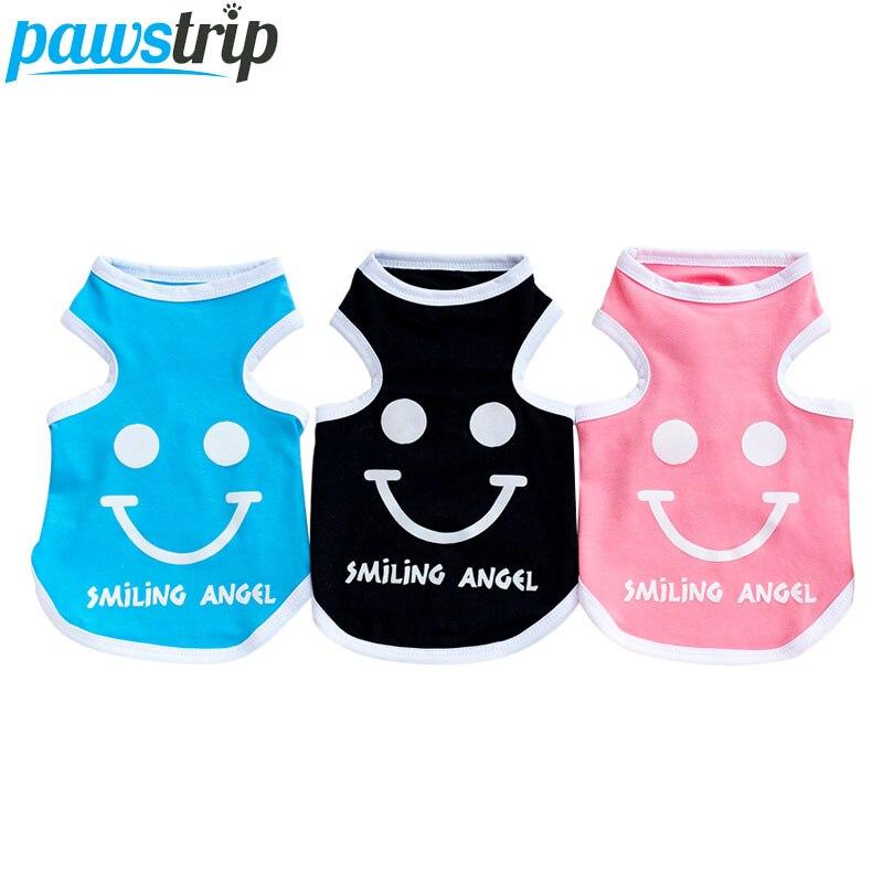 Hot Sale Pawstrip 5 Colors Cute Smiling Pet Dog Vest Shirt Summer