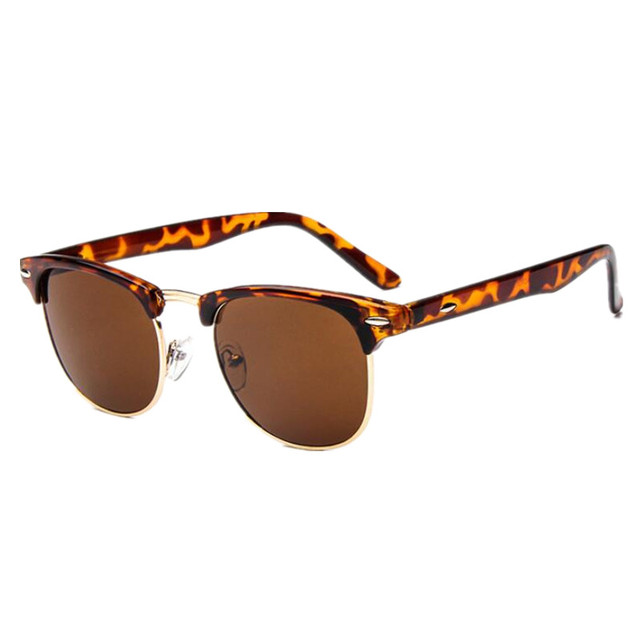 Classic Half Metal Sunglasses Women Men Brand Designer Vintage Square Rivet Sun Glasses Fashion Gafas Oculos De Sol UV400
