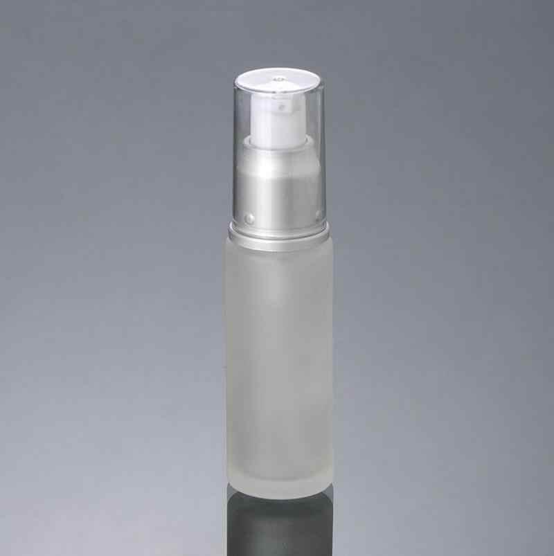 300 adet/grup 20 ML 30 ML Buzlu Şeffaf Losyon Pompası Krem Cam Şişe Ile Altın Gümüş Alüminyum Pompa