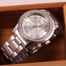 Hot Sale Fashion Faux Chronograph Plated Classic Geneva Quartz Ladies Watch Women Crystals Wristwatches Relogio Feminino Clock